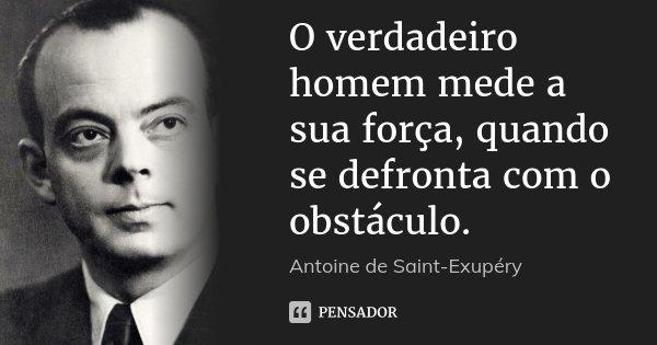 O verdadeiro homem mede a sua força, quando se defronta com o obstáculo.... Frase de Antoine de Saint-Exupéry.