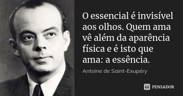 O essencial é invisível aos olhos. Quem ama vê além da aparência física e é isto que ama: a essência.... Frase de Antoine de Saint Exupéry.