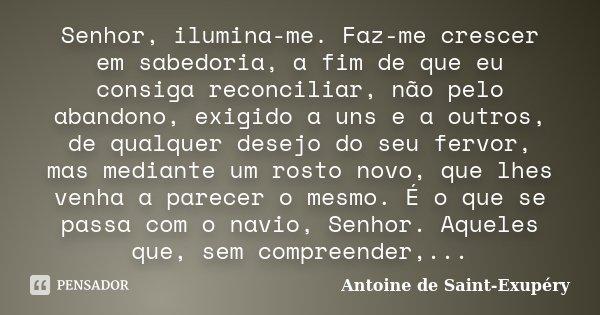 Senhor, ilumina-me. Faz-me crescer em sabedoria, a fim de que eu consiga reconciliar, não pelo abandono, exigido a uns e a outros, de qualquer desejo do seu fer... Frase de Antoine de Saint Exupéry.