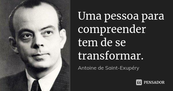 Uma pessoa para compreender tem de se transformar.... Frase de Antoine de Saint-Exupéry.