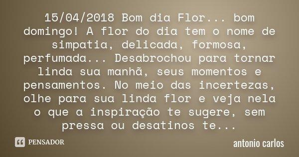 15042018 Bom Dia Flor Bom Domingo Antonio Carlos