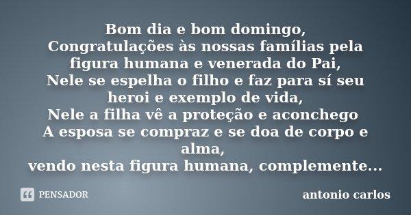 Bom dia e bom domingo, Congratulações às nossas famílias pela figura humana e venerada do Pai, Nele se espelha o filho e faz para sí seu heroi e exemplo de vida... Frase de Antonio Carlos.
