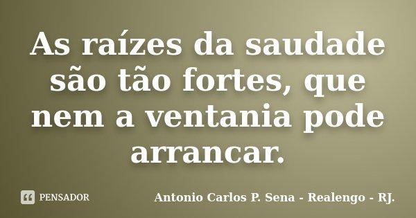 As raízes da saudade são tão fortes, que nem a ventania pode arrancar.... Frase de Antonio Carlos P. Sena - Realengo - RJ..