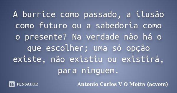 A burrice como passado, a ilusão como futuro ou a sabedoria como o presente? Na verdade não há o que escolher; uma só opção existe, não existiu ou existirá, par... Frase de Antonio Carlos V O Motta (acvom).