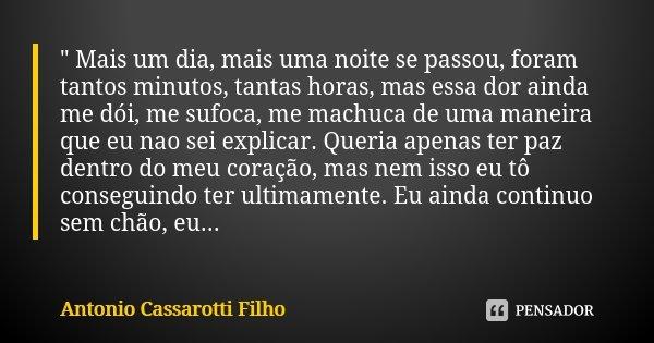 """"""" Mais um dia, mais uma noite se passou, foram tantos minutos, tantas horas, mas essa dor ainda me dói, me sufoca, me machuca de uma maneira que eu nao sei... Frase de Antonio Cassarotti Filho."""