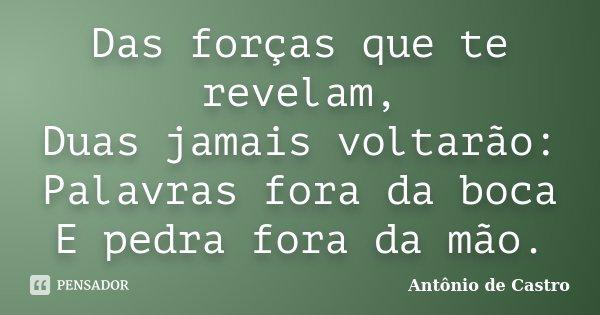 Das forças que te revelam, Duas jamais voltarão: Palavras fora da boca E pedra fora da mão.... Frase de Antonio de Castro.
