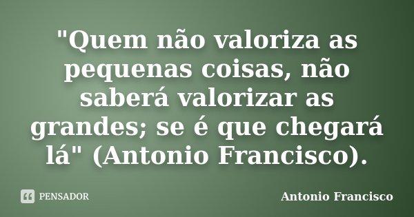 """""""Quem não valoriza as pequenas coisas, não saberá valorizar as grandes; se é que chegará lá"""" (Antonio Francisco).... Frase de Antonio Francisco."""