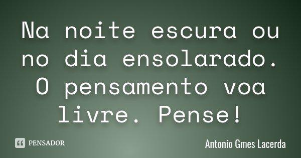 Na noite escura ou no dia ensolarado. O pensamento voa livre. Pense!... Frase de Antonio Gmes Lacerda.