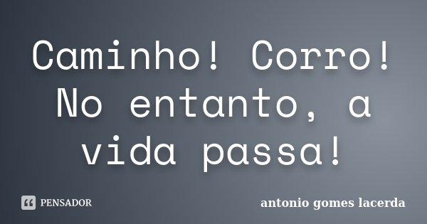 Caminho! Corro! No entanto, a vida passa!... Frase de Antonio Gomes Lacerda.