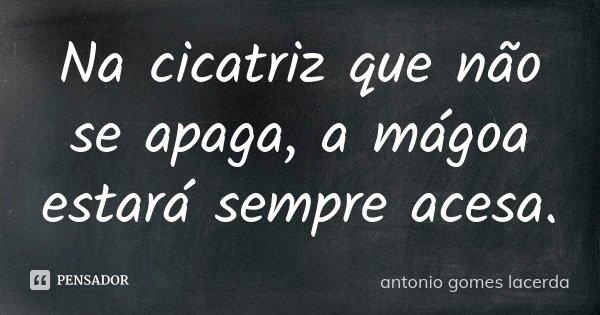Na cicatriz que nao se apaga, a mágoa estará sempre acesa... Frase de Antonio Gomes Lacerda.