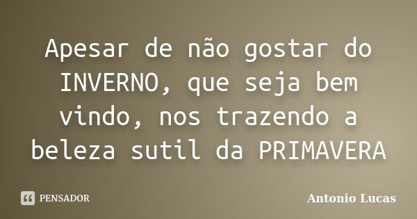 Apesar de não gostar do INVERNO, que seja bem vindo, nos trazendo a beleza sutil da PRIMAVERA... Frase de Antônio Lucas.