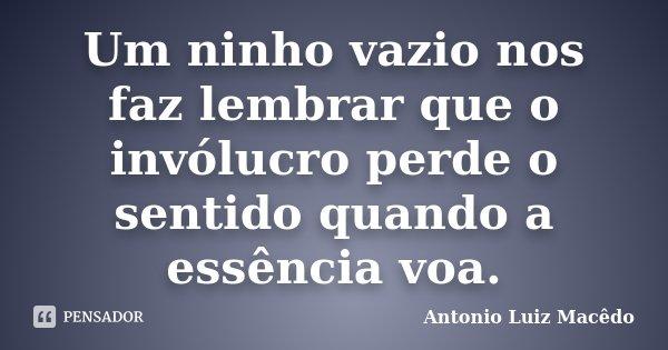 Um ninho vazio nos faz lembrar que o invólucro perde o sentido quando a essência voa.... Frase de Antonio Luiz Macêdo.