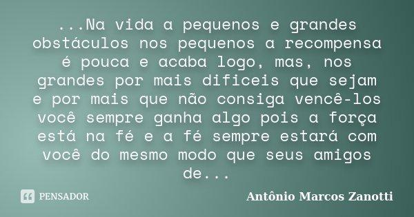 ...Na vida a pequenos e grandes obstáculos nos pequenos a recompensa é pouca e acaba logo, mas, nos grandes por mais dificeis que sejam e por mais que não consi... Frase de Antônio Marcos Zanotti.