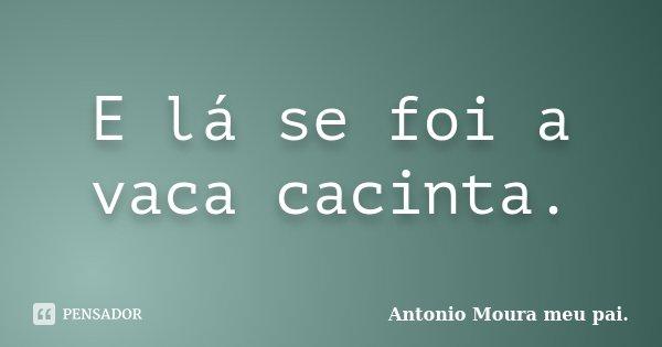 E lá se foi a vaca cacinta.... Frase de Antonio Moura meu pai..