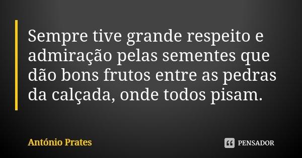 Sempre tive grande respeito e admiração pelas sementes que dão bons frutos entre as pedras da calçada, onde todos pisam.... Frase de António Prates.
