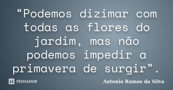 """""""Podemos dizimar com todas as flores do jardim, mas não podemos impedir a primavera de surgir"""".... Frase de Antonio Ramos da Silva."""