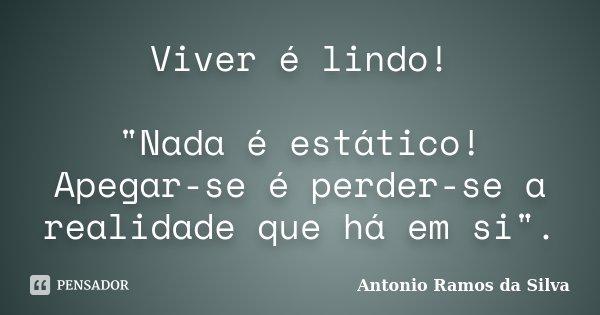"Viver é lindo! ""Nada é estático! Apegar-se é perder-se a realidade que há em si"".... Frase de Antonio Ramos da Silva."