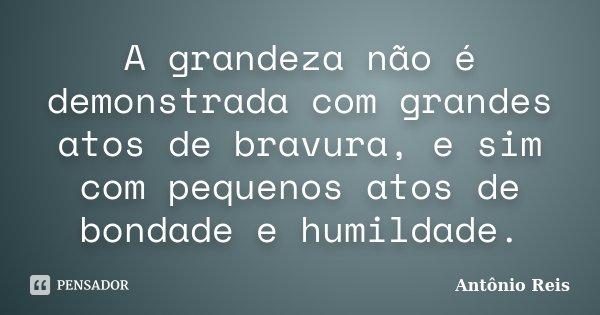 A grandeza não é demonstrada com grandes atos de bravura, e sim com pequenos atos de bondade e humildade.... Frase de Antônio Reis.