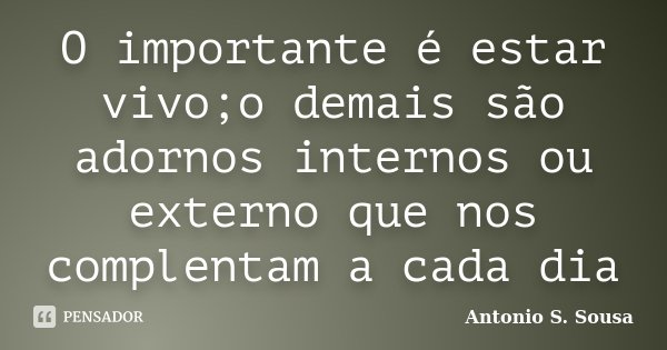 O importante é estar vivo;o demais são adornos internos ou externo que nos complentam a cada dia... Frase de Antonio S. Sousa.