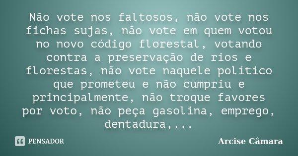 Não vote nos faltosos, não vote nos fichas sujas, não vote em quem votou no novo código florestal, votando contra a preservação de rios e florestas, não vote na... Frase de Arcise Câmara.