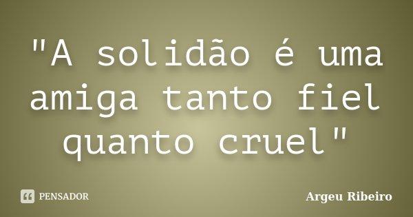 """""""A solidão é uma amiga tanto fiel quanto cruel""""... Frase de Argeu Ribeiro."""