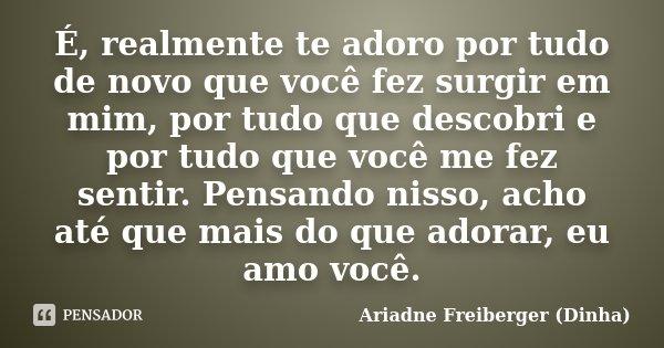 É, realmente te adoro por tudo de novo que você fez surgir em mim, por tudo que descobri e por tudo que você me fez sentir. Pensando nisso, acho até que mais do... Frase de Ariadne Freiberger (Dinha).