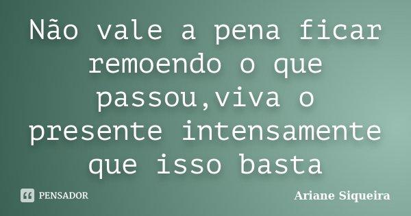 Não vale a pena ficar remoendo o que passou,viva o presente intensamente que isso basta... Frase de Ariane Siqueira.