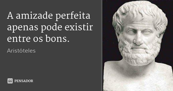 A amizade perfeita apenas pode existir entre os bons.... Frase de Aristóteles.