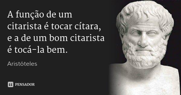 A função de um citarista é tocar cítara, e a de um bom citarista é tocá-la bem.... Frase de Aristóteles.