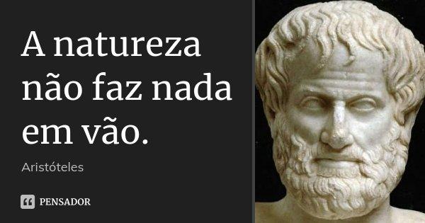 A natureza não faz nada em vão.... Frase de Aristóteles.