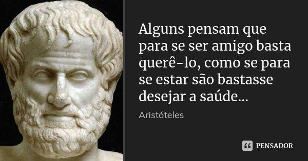 Alguns pensam que para se ser amigo basta querê-lo, como se para se estar são bastasse desejar a saúde...... Frase de Aristóteles.