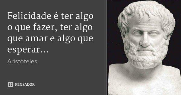 Felicidade é ter algo o que fazer, ter algo que amar e algo que esperar...... Frase de Aristóteles.