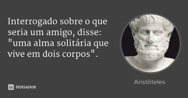 """Interrogado sobre o que seria um amigo, disse: """"uma alma solitária que vive em dois corpos"""".... Frase de Aristóteles."""