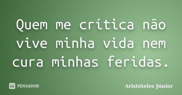 Quem me crítica não vive minha vida nem cura minhas feridas.... Frase de Aristóteles Júnior.