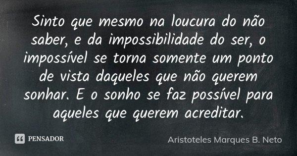 Sinto que mesmo na loucura do não saber, e da impossibilidade do ser, o impossível se torna somente um ponto de vista daqueles que não querem sonhar. E o sonho ... Frase de Aristoteles Marques B. Neto.