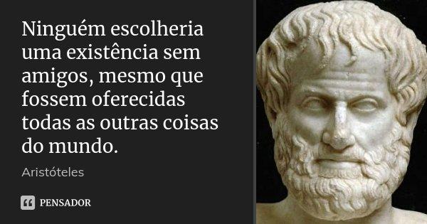 Ninguém escolheria uma existência sem amigos, mesmo que fossem oferecidas todas as outras coisas do mundo.... Frase de Aristóteles.