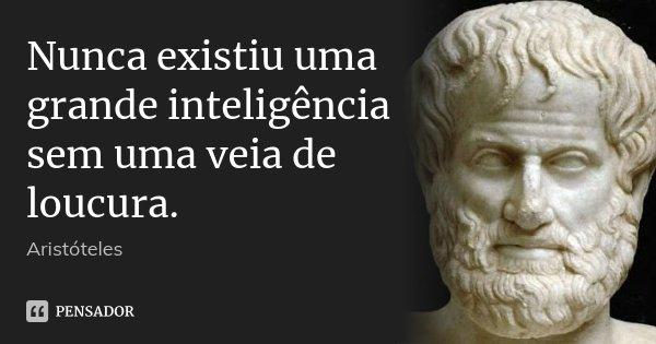 Nunca existiu uma grande inteligência sem uma veia de loucura.... Frase de Aristóteles.