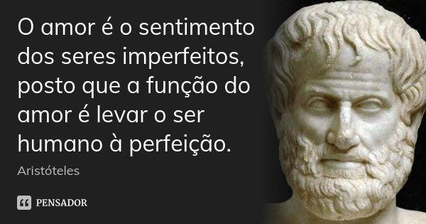 O amor é o sentimento dos seres imperfeitos, posto que a função do amor é levar o ser humano à perfeição.... Frase de Aristóteles.