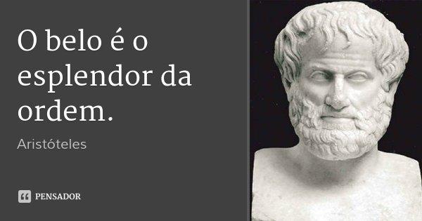 O belo é o esplendor da ordem.... Frase de Aristóteles.