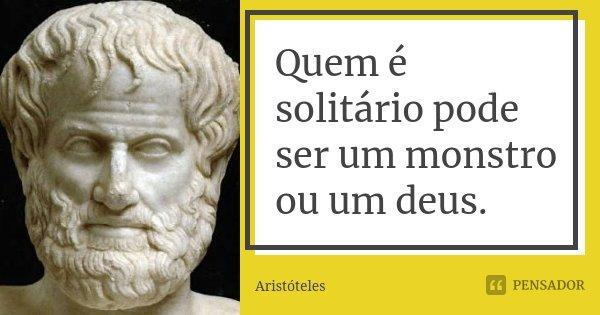 Quem é solitário pode ser um monstro ou um deus.... Frase de Aristóteles.
