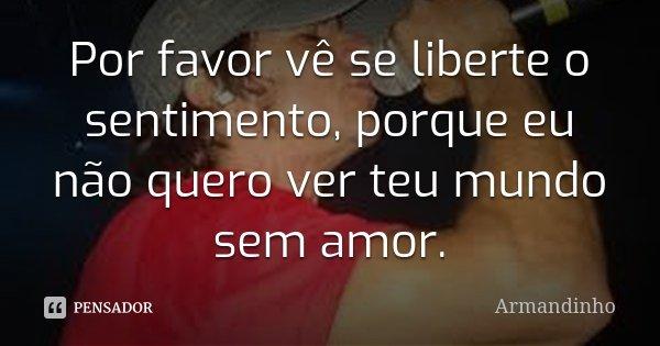 Por favor vê se liberte o sentimento, porque eu não quero ver teu mundo sem amor.... Frase de Armandinho.
