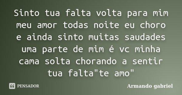 Sinto Tua Falta Volta Para Mim Meu Amor Armando Gabriel