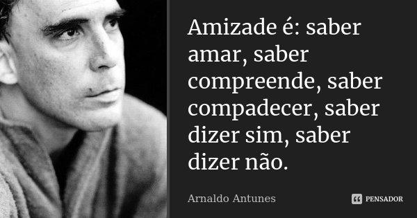 Amizade é: saber amar, saber compreende, saber compadecer, saber dizer sim, saber dizer não.... Frase de Arnaldo Antunes.