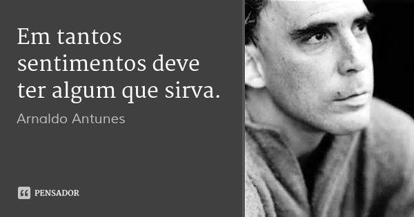 Em tantos sentimentos deve ter algum que sirva.... Frase de Arnaldo Antunes.