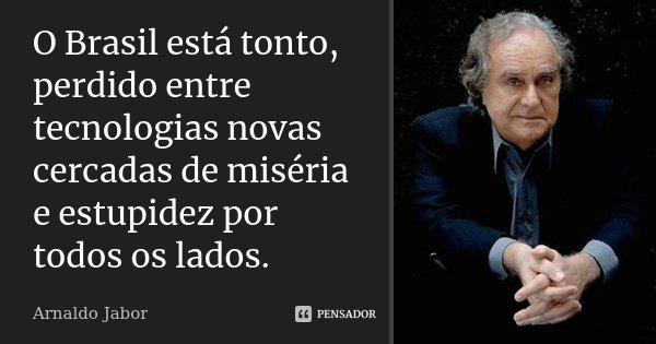 O Brasil está tonto, perdido entre tecnologias novas cercadas de miséria e estupidez por todos os lados.... Frase de Arnaldo Jabor.