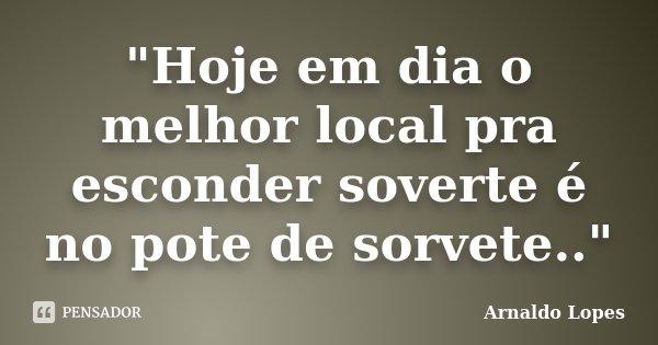 """""""Hoje em dia o melhor local pra esconder soverte é no pote de sorvete..""""... Frase de Arnaldo Lopes."""