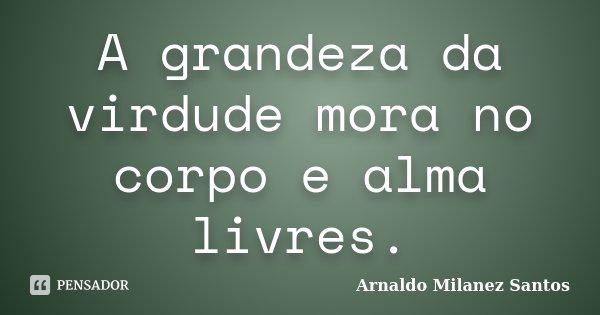 A grandeza da virdude mora no corpo e alma livres.... Frase de Arnaldo Milanez Santos.