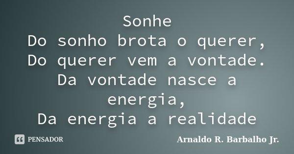 Sonhe Do sonho brota o querer, Do querer vem a vontade. Da vontade nasce a energia, Da energia a realidade... Frase de Arnaldo R. Barbalho Jr..