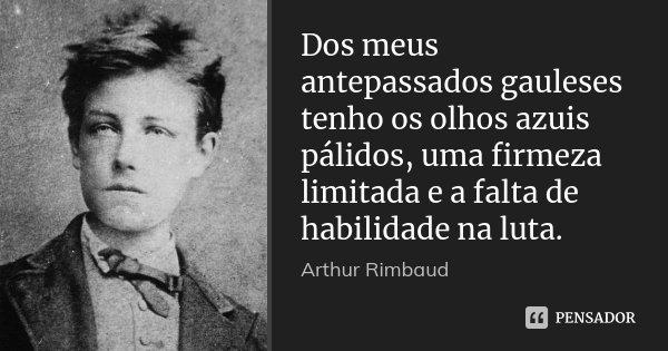 Dos meus antepassados gauleses tenho os olhos azuis pálidos, uma firmeza limitada e a falta de habilidade na luta.... Frase de Arthur Rimbaud.