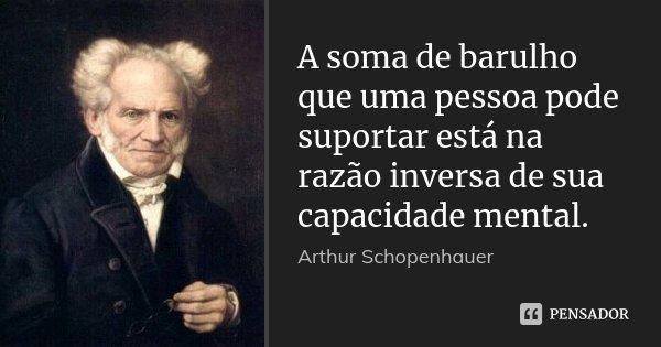 A soma de barulho que uma pessoa pode suportar está na razão inversa de sua capacidade mental.... Frase de Arthur Schopenhauer.